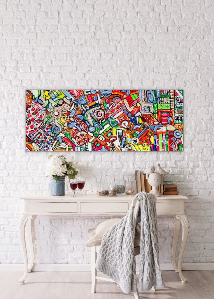 Life in Colors 8, 59″x23'5″(150x60cm), neon pop art canvas painting, art, home painting, colorful art