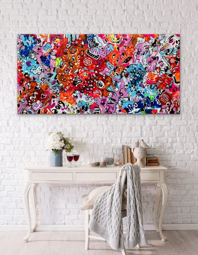 "Life in Colors 9, 71""x 35""(180x90cm), neon pop art canvas painting, art, home painting, colorful art"