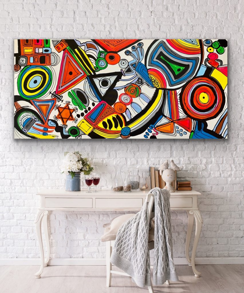 "71""x 33""(180x85cm), Life in Colors 23, 2020, urban pop art canvas painting , art, home painting, colorful art"