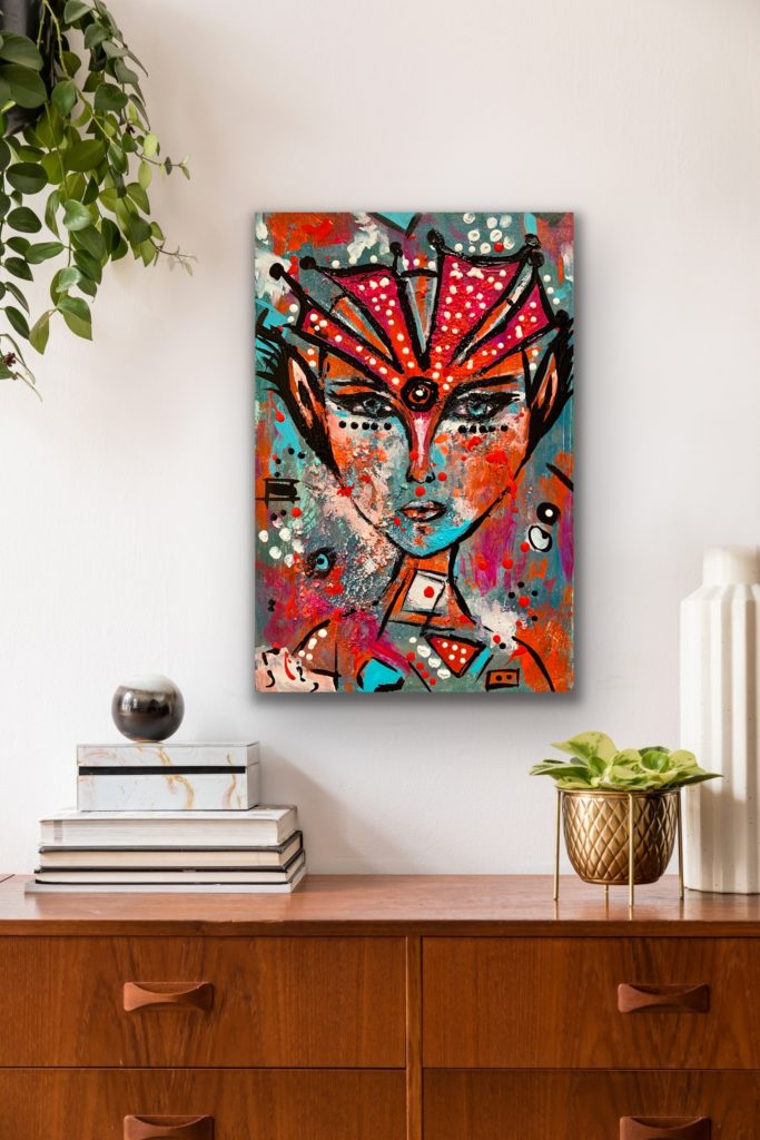 "18″X12″(45X30CM), ""A QUEEN "", 2020, urban pop art canvas painting , art, home painting, colorful art"