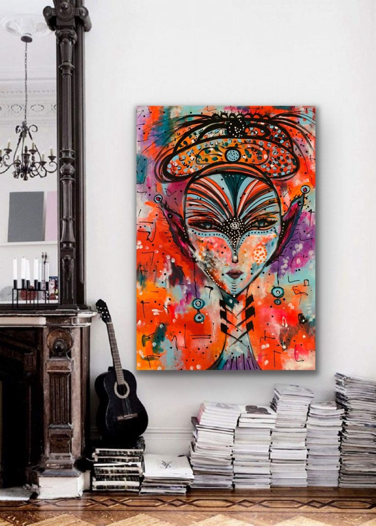 "The Queen 3, 45""x31″( 115x80cm) , neon pop art canvas painting, art, home painting, colorful art"