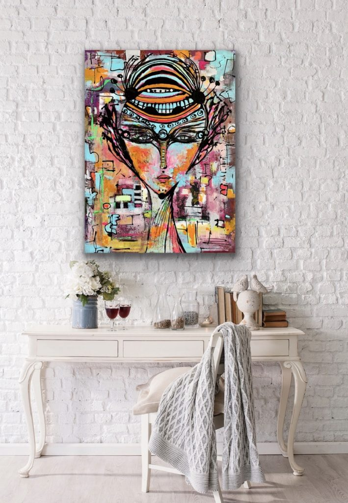 "31""X 23,5""(80X60CM), ""A QUEEN 2″, 2020, urban pop art canvas painting , art, home painting, colorful art"