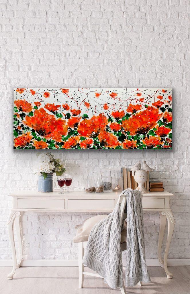 Garden of Joy 13, 59″x23'5″(150x60cm), neon art canvas painting, art, home painting, colorful art