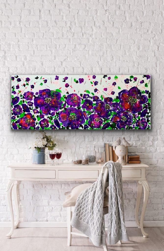 Garden of Joy 15, 59″x 23'5″(150x60cm), neon art canvas painting, art, home painting, colorful art