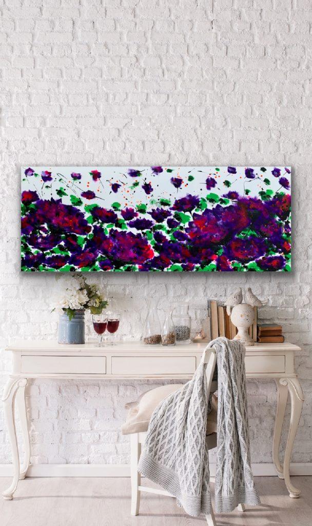 Garden of Joy 17, 59″x 23'5″(150x60cm), neon art canvas painting, art, home painting, colorful art