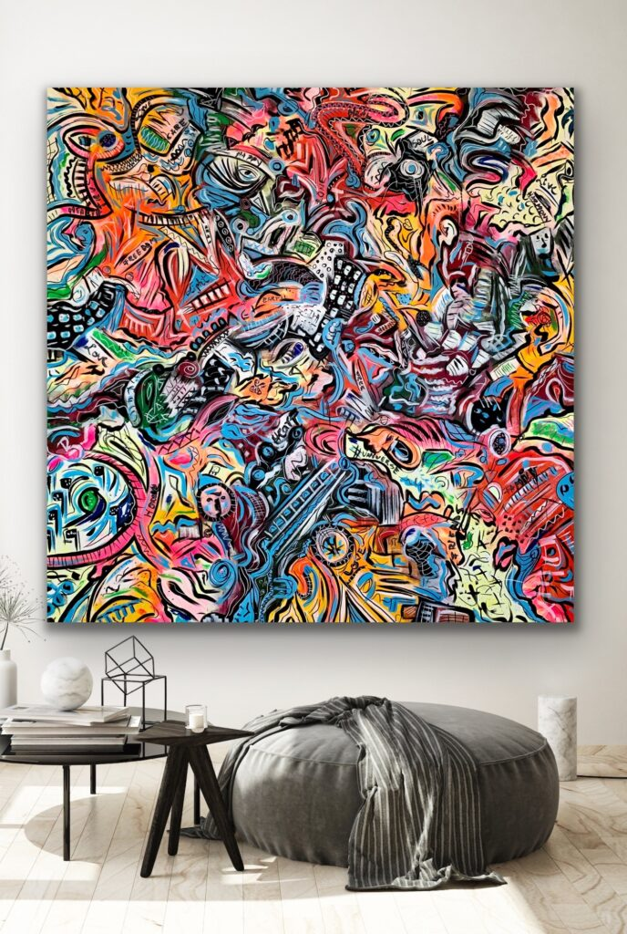 """75""""X 75""""(190 X 190 CM), LIFE IN COLORS 32 , Bright COLORS, extra large"""