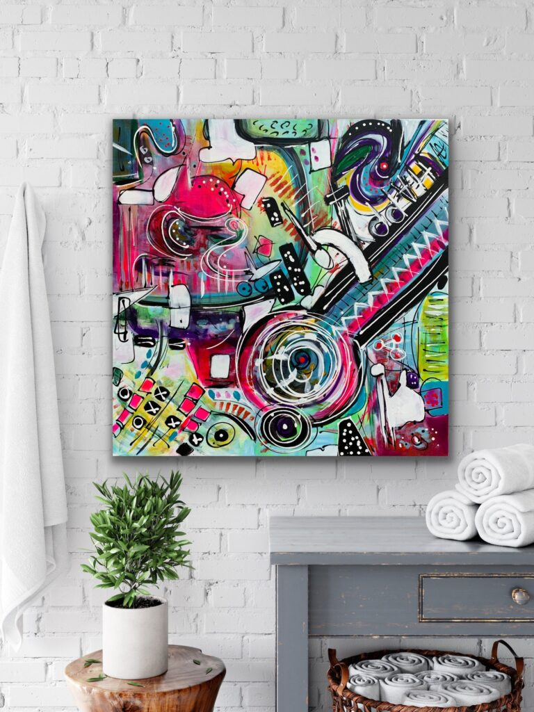 """Life in Colors 33, 31.5""""X31.5""""( 80X80CM) , neon pop art canvas painting, art, home painting, colorful art"""