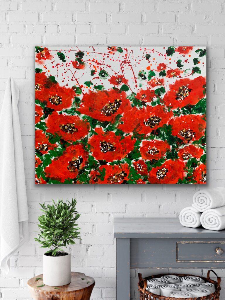 "Garden of Joy 26, 40""x 31″( 100 x 80 cm) art canvas painting, art, home painting, colorful art"