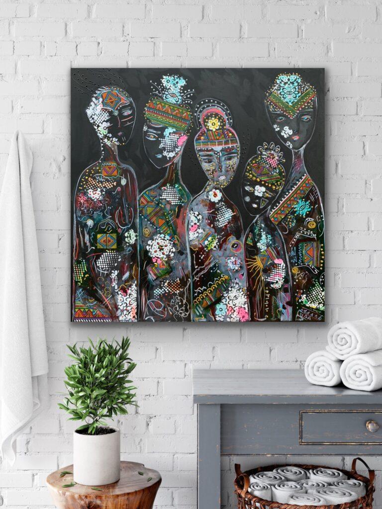 "31.5""x 31.5""( 80x80cm), Friends 57, urban pop art canvas painting, art, home painting, colorful art"