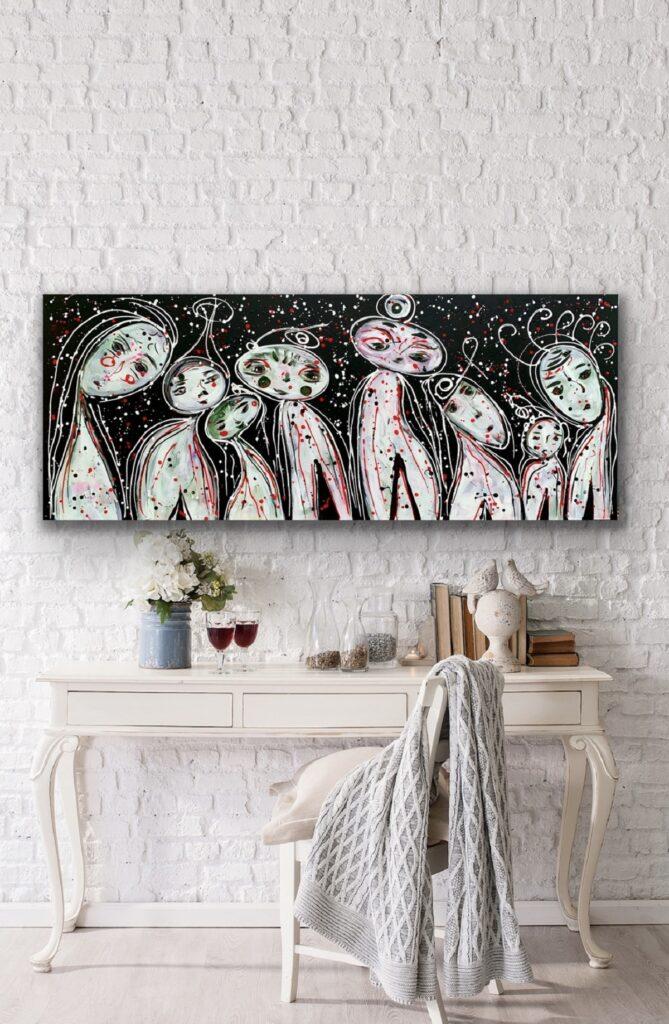 Friends 56, 59″x23'5″(150x60cm), neon pop art canvas painting, art, home painting, colorful art