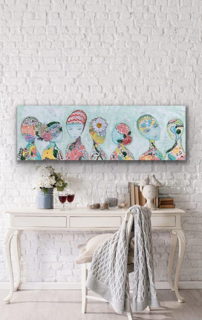 Divine Souls, 59″x 20″(150x50cm), neon pop art canvas painting, art, home painting, colorful art