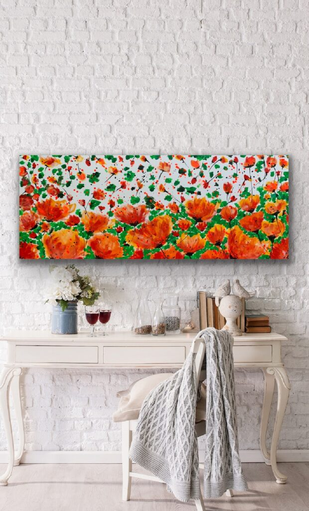 Garden of Joy 30, 59″x 23'5″(150x60cm), neon art canvas painting, art, home painting, colorful art