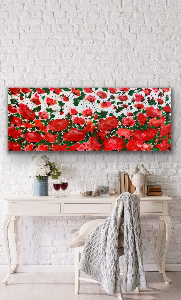 Garden of Joy 31, 59″x 23'5″(150x60cm), neon art canvas painting, art, home painting, colorful art