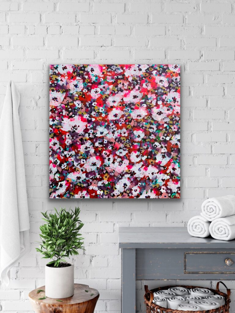 "Garden of Joy 31, 31""x 31″( 80 x 80 cm), BURGUNDY floral neon art canvas painting, art, home painting, colorful art"