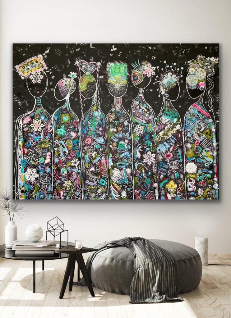 "79""x 60""(200 x 150 cm) ,FRIENDS 59 , Bright neon  COLORS, extra large pop art, wall decor"