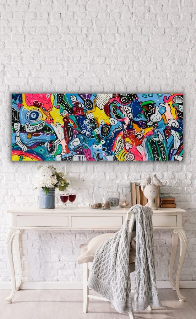 Life in Colors 44, 59″x23'5″(150x60cm), neon pop art canvas painting, art, home painting, colorful art