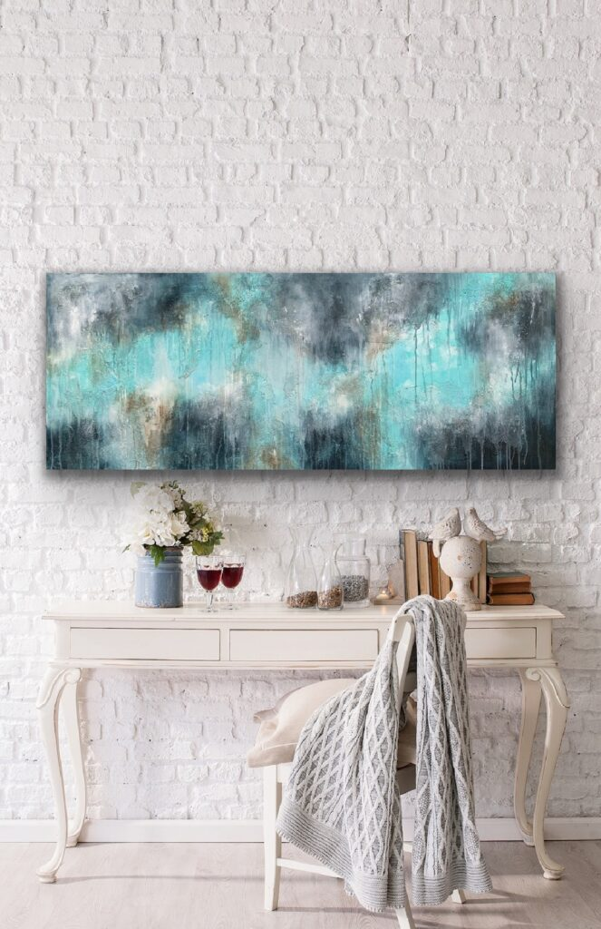 MAGNIFICENT EARTH 75, 2021, ready to hang, 59″x 23'5″(150x60cm), urban canvas painting , art, home painting