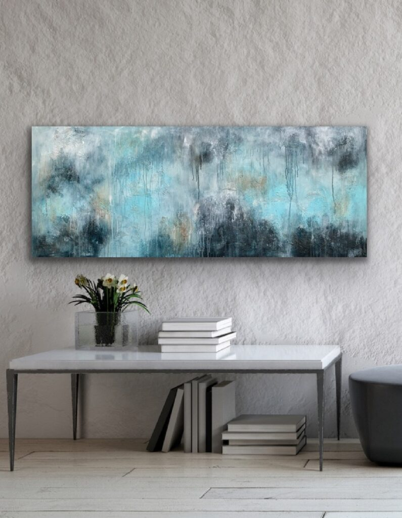 MAGNIFICENT EARTH 76, 2021, ready to hang, 59″x 23'5″(150x60cm), urban canvas painting , art, home painting