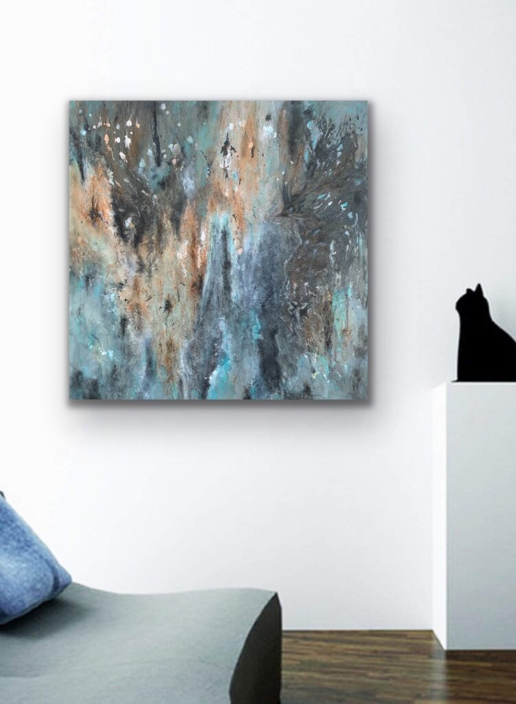 Mother Earth 6, nature grey urban pop art canvas painting, art, home painting, colorful art