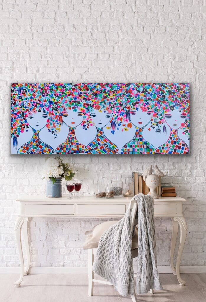 Hello Spring 2, 59″x 23'5″(150x60cm), neon art canvas painting, art, home painting, colorful art