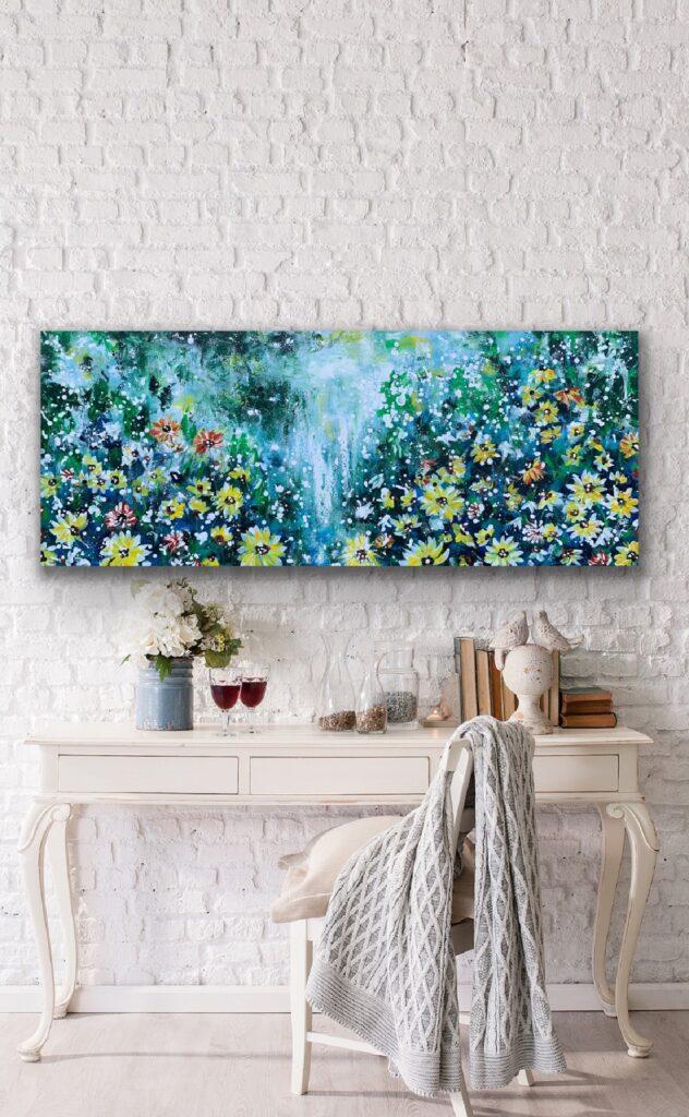 Garden of Joy 36, 59″x 23'5″(150x60cm), neon art canvas painting, art, home painting, colorful art