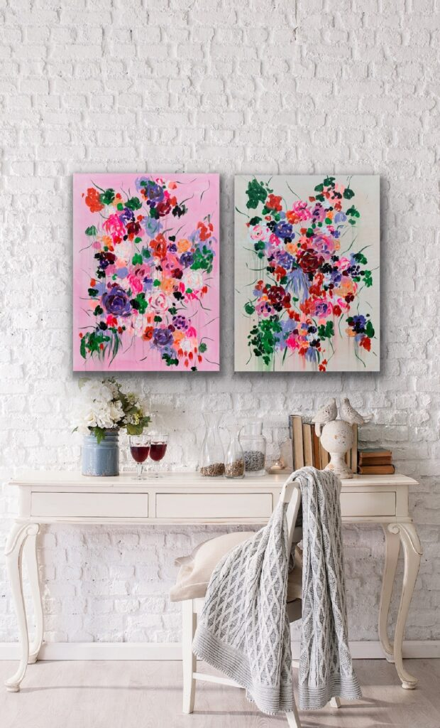 Garden of Joy 38, floral neon art canvas painting, art, home painting, colorful art