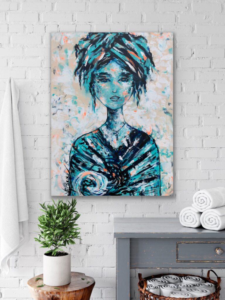 """31""""X 23,5""""(80X60CM), Grace, 2021, urban pop art canvas painting , art, home painting, colorful art"""