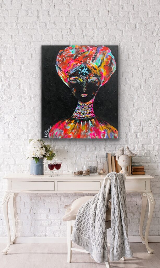 The Queen 9 , neon pop art canvas painting, art, home painting, colorful art