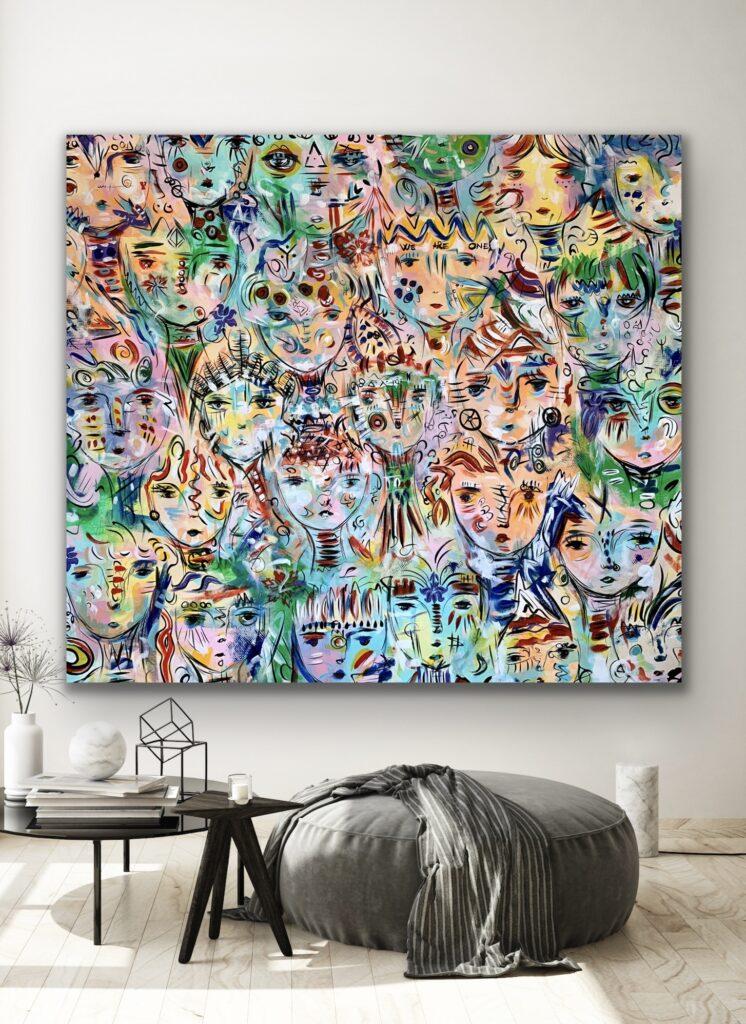 Souls 4, neon pop art canvas painting, art, home painting, colorful art