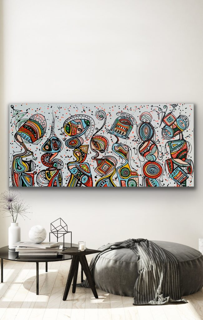 "71""x 33""(180x85cm), Friends 72, urban pop art canvas painting , art, home painting, colorful art"