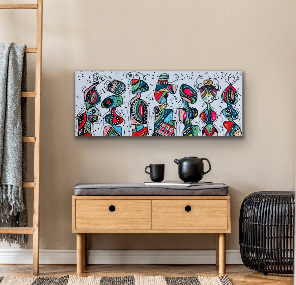 Friends 73, 59″x23'5″(150x60cm), neon pop art canvas painting, art, home painting, colorful art