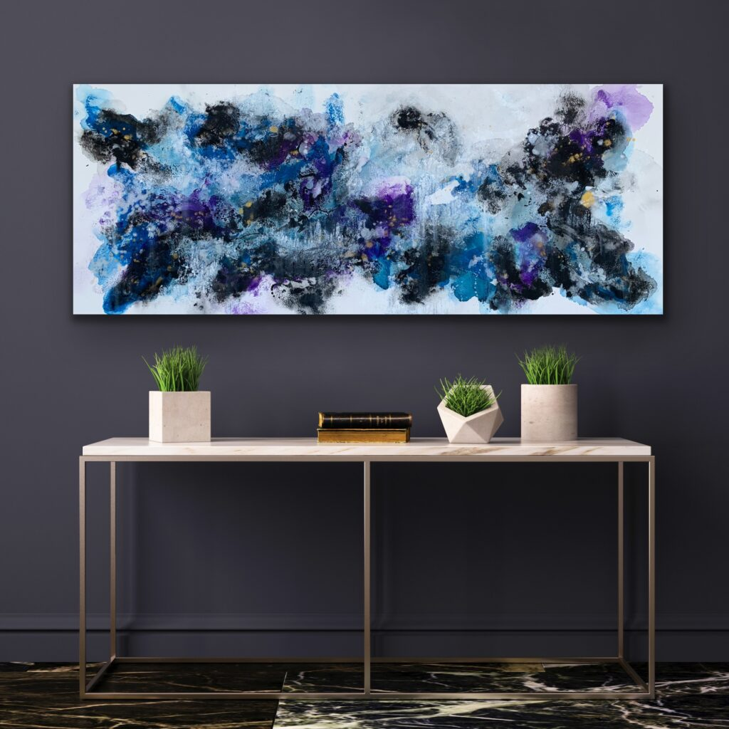 Blue Flame 12, 2021, ready to hang, 59″x 23'5″( 150 x 60 cm), urban pop art canvas painting , art, home painting