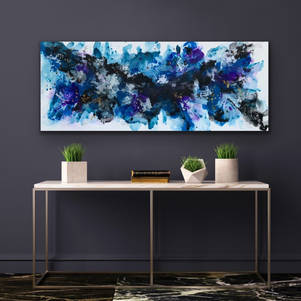 Blue Flame 11, 2021, ready to hang, 59″x 23'5″( 150 x 60 cm), urban pop art canvas painting , art, home painting